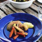 Panerad portabellosvamp med ungsrostade grönsaker och tryffelbearnaisesås